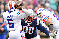 Sunday, October 2, 2016: New England Patriots defensive tackle Malcom Brown (90) pressures Buffalo Bills quarterback Tyrod Taylor (5) during the NFL game between the Buffalo Bills and the New England Patriots held at Gillette Stadium in Foxborough Massachusetts. Buffalo defeats New England 16-0. Eric Canha/Cal Sport Media