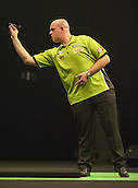 09.04.2015. Sheffield, England. Betway Premier League Darts. Matchday 10.  Michael van Gerwen [NED] in action during his game with Stephen Bunting [ENG]