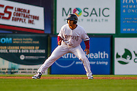 Wisconsin Timber Rattlers outfielder Trent Clark (27) leads off second base during a Midwest League game against the Clinton LumberKings on May 9th, 2016 at Fox Cities Stadium in Appleton, Wisconsin.  Clinton defeated Wisconsin 6-3. (Brad Krause/Four Seam Images)
