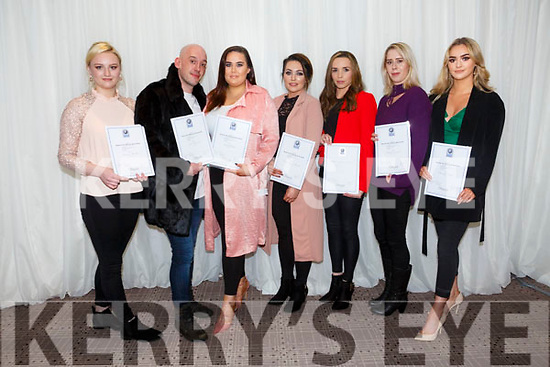 At the Kerry ETB  Graduations in the rose Hotel on Thursday were Beauty Therapist Traineeship Students l-r Lavinia Murphy, Niall Fitzgerald, Niamh Curley, Amy Barrett,  Olivia Martin, Bridget Carmody, Clionadh Griffin,