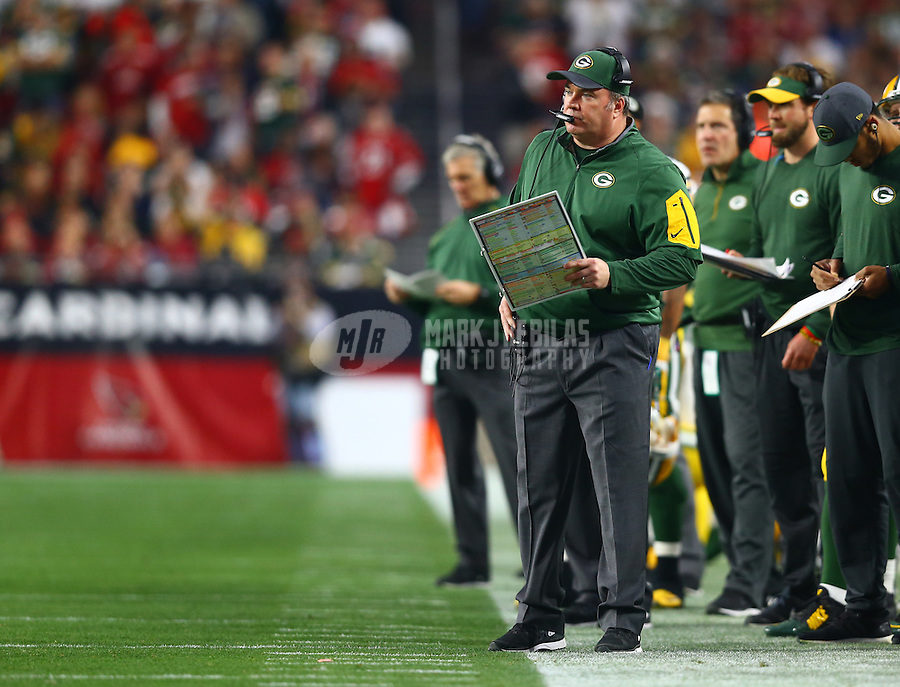 Dec 27, 2015; Glendale, AZ, USA; Green Bay Packers head coach Mike McCarthy against the Arizona Cardinals at University of Phoenix Stadium. The Cardinals defeated the Packers 38-8. Mandatory Credit: Mark J. Rebilas-USA TODAY Sports