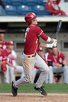 Dustin Dishman (2) of the Oklahoma Sooners bats against the Pepperdine Waves at Eddy D. Field Stadium on February 18, 2012 in Malibu,California. Pepperdine defeated Oklahoma 10-0.(Larry Goren/Four Seam Images)