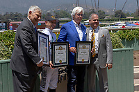 """ARCADIA, CA  JUNE 23: Bob Baffert and Mike Smith receive tributes from the city of Arcadia on  """"Justify Day"""" on June 23, 2018 at Santa Anita Park in Arcadia, CA.  (Photo by Casey Phillips/Eclipse Sportswire/Getty Images)"""