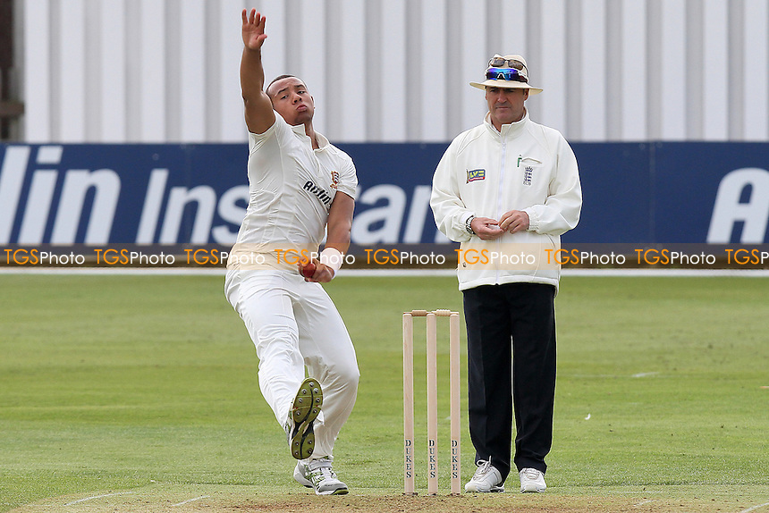 Tymal Mills in bowling action for Essex - Essex CCC vs Surrey CCC - Friendly Cricket Match at the Ford County Ground, Chelmsford, Essex - 21/03/12 - MANDATORY CREDIT: Gavin Ellis/TGSPHOTO - Self billing applies where appropriate - 0845 094 6026 - contact@tgsphoto.co.uk - NO UNPAID USE.
