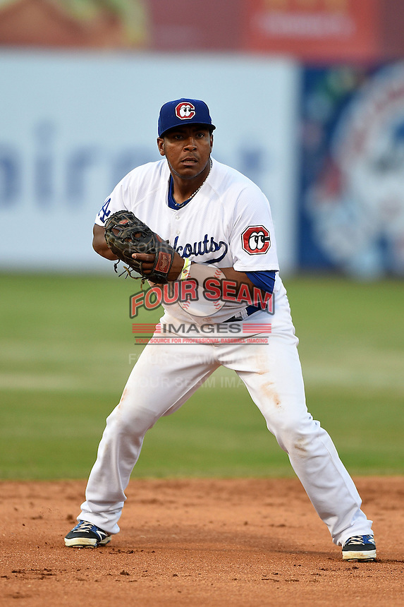 Chattanooga Lookouts third baseman Daniel Mayora (17) checks the runner during a game against the Birmingham Barons on April 24, 2014 at AT&T Field in Chattanooga, Tennessee.  Chattanooga defeated Birmingham 5-4.  (Mike Janes/Four Seam Images)