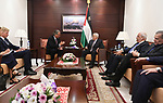 Palestinian President Mahmoud Abbas meets with the peace process envoy, Bir Oreniosin in the West Bank city of Ramallah, on August 8, 2017. Photo by Osama Falah