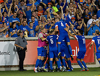Cincinnati, OH - Tuesday August 15, 2017: Austin Berry scores a goal during a 2017 U.S. Open Cup game between FC Cincinnati vs New York Red Bulls at Nippert Stadium.