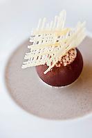 Europe/France/Bretagne/35/Ille et Vilaine/Saint-Malo/ Saint-Servan:  Sphère chocolat, marron, crème café, recette de Luc Mobihan - restaurant: Le Saint-Placide