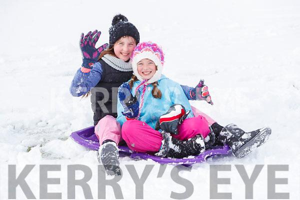 Annabel Walsh and Mia Ryan having fun in snow in Ballybunnion on Friday.