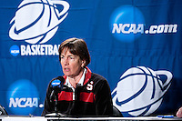 SPOKANE, WA - MARCH 25, 2011: Head Coach Tara VanDerveer at the Stanford Women's Basketball, NCAA West Regionals press conference at Spokane Arena on March 25, 2011.