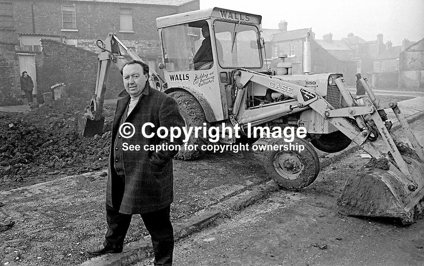 Paddy Devlin, MP, N Ireland Labour Party, at an illegal building site off the Crumlin Road in Belfast. The Bombay Street Housing Association had an involvement in the venture. 12th December 1969. 196912120261<br />