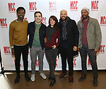 "Ato Blankson-Wood, Juan Castano, Samantha Soule, Glenn Davis and Leon Addison Brown attends the Meet & Greet for the cast and creative team of  MCC Theater's ""Transfers"" on February 28, 2018 at the Second Stage Rehearsal Studios in New York City."