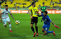 Adelaide keeper Paul Izzo tries to get past Andrew Durante during the A-League football match between Wellington Phoenix and Adelaide United at Westpac Stadium in Wellington, New Zealand on Saturday, 27 January 2018. Photo: Dave Lintott / lintottphoto.co.nz