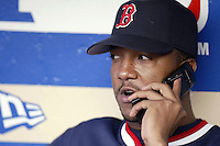 Pedro Martinez of the Boston Red Sox talks on a phone before a 2002 MLB season game against the Los Angeles Dodgers at Dodger Stadium, in Los Angeles, California. (Larry Goren/Four Seam Images)