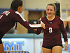 Noelle Bryggman #9 of Whitman, right, celebrates with Amanda DeWitt #11 after a spike in a non-league varsity girls volleyball match against Centereach at New York Institute of Technology in Old Westbury on Wednesday, Sept. 20, 2017. Whitman rallied from a two-set deficit to win 21-25, 16-25, 25-16, 25-22, 25-19.