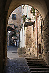 A gateway on a narrow side alley in the Muslim Quarter of the Old City of Jerusalem.  The Old City of Jerusalem and its Walls is a UNESCO World Heritage Site.