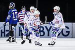 Uppsala 2013-11-13 Bandy Elitserien IK Sirius - IFK Kung&auml;lv :  <br /> Kung&auml;lv Fredrik Johansson jublar med lagkamrater efter att ha kvitterat till 1-1<br /> (Foto: Kenta J&ouml;nsson) Nyckelord:  jubel gl&auml;dje lycka glad happy