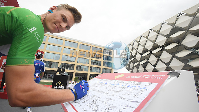 Marcel Kittel (GER) Quick-Step Floors at sign on before the start of Stage 3 Al Maryah Island Stage of the 2017 Abu Dhabi Tour, starting at Al Ain and running 186km to the mountain top finish at Jebel Hafeet, Abu Dhabi. 25th February 2017<br /> Picture: ANSA/Claudio Peri | Newsfile<br /> <br /> <br /> All photos usage must carry mandatory copyright credit (&copy; Newsfile | ANSA)