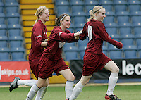 09 MAY 2007 - LONDON, UK - Anna Renken (right) celebrates her first goal - Loughborough University (Maroon) v Brighton University (Purple) - BUSA Womens Football Championships. (PHOTO (C) NIGEL FARROW)