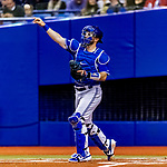 25 March 2019: Toronto Blue Jays top prospect catcher Danny Jansen in action during an exhibition game against the Milwaukee Brewers at Olympic Stadium in Montreal, Quebec, Canada. The Brewers defeated the Blue Jays 10-5 in the first of two MLB pre-season games in the former home of the Montreal Expos. Mandatory Credit: Ed Wolfstein Photo *** RAW (NEF) Image File Available ***