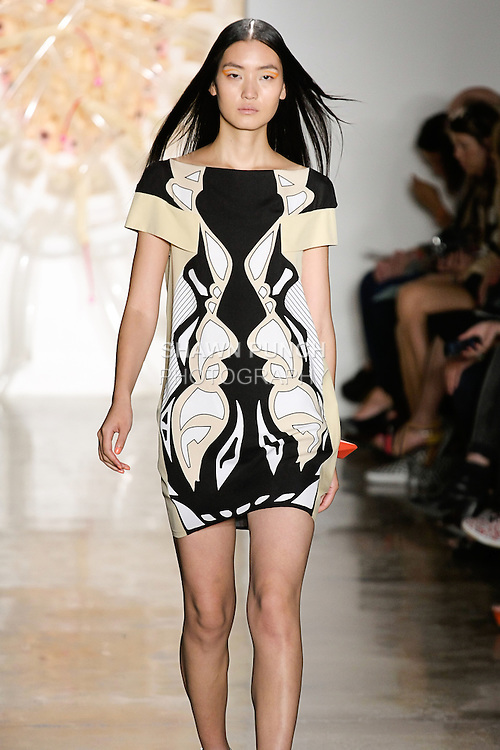 Lina walks runway in an outfit from the Ohne Titel Spring Summer 2013 collection by Alexa Adams and Flora Gill, during Milk Made Fashion Week Spring 2013 in New York City.