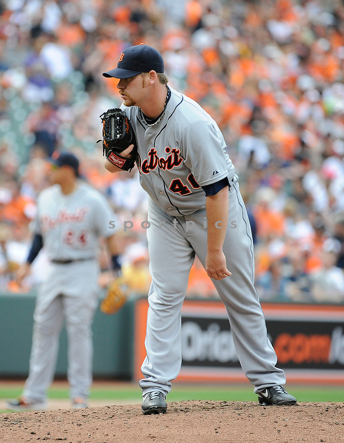 Detroit Tigers Phil Coke (40) during a game against the Baltimore Orioles on June 2, 2013 at Oriole Park in Baltimore, MD. The Orioles beat the Tigers 4-2.