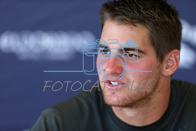 Nevada quarterback Cody Fajardo answers media questions at a press conference following an NCAA college football game on Saturday, Aug. 30, 2014 in Reno, Nev. Nevada defeated Southern Utah 28-19. (AP Photo/Cathleen Allison)