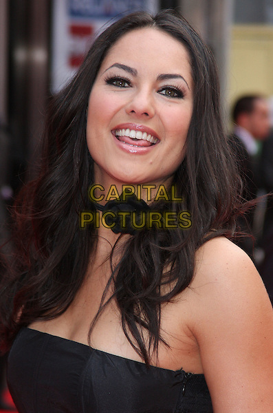 BARBARA MORI  .European Premiere of 'Kites' at the Odeon West End, Leicester Square, London, England. .May 18th 2010.headshot portrait black choker corsage necklace strapless mouth open tongue.CAP/ROS.©Steve Ross/Capital Pictures.