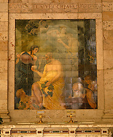 A tiled mural on the wall of the Gallaria delle Bibite illustrates the health benefits of the thermal waters on the aged