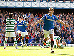 Nikica Jelavic celebrates his goal for Rangers against Celtic at Ibrox in a 4-2 rout.