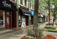 Downtown shops, Saratoga Springs, New York, USA