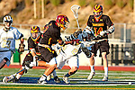 San Diego, CA 05/29/10 - Andrew Hayden (LCC# 21), John Wilson (Torrey Pines # 2), Erik Myers (Torrey Pines # 14) and Tucker Chambers (Torrey Pines # 30) in action during the 2010 CIF San Diego Section Boys Lacrosse Championship game between Torrey Pines and La Costa Canyon, La Costa Canyon  defeated Torrey Pines 12-6 for the title.