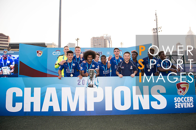 Leicester City (in blue) are the winners of the Main Tournament Cup Final, while Aston Villa (in purple) are the runner-ups, during the HKFC Citi Soccer Sevens 2017 on 28 May 2017 at the Hong Kong Football Club, Hong Kong, China. Photo by Marcio Rodrigo Machado / Power Sport Images