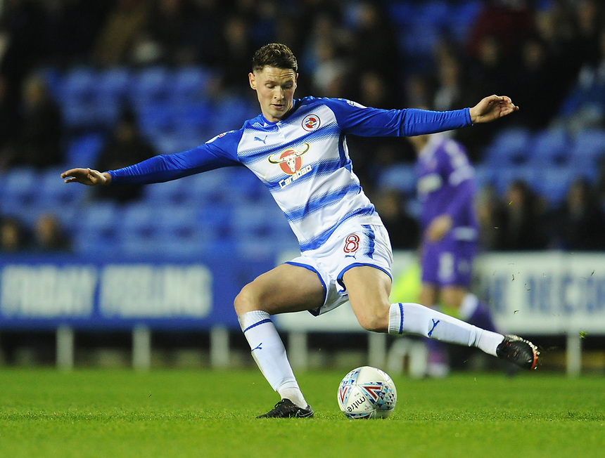 Reading's George Evans<br /> <br /> Photographer Kevin Barnes/CameraSport<br /> <br /> The EFL Sky Bet Championship - Reading v Bolton Wanderers - Tuesday 6th March 2018 - Madejski Stadium - Reading<br /> <br /> World Copyright &copy; 2018 CameraSport. All rights reserved. 43 Linden Ave. Countesthorpe. Leicester. England. LE8 5PG - Tel: +44 (0) 116 277 4147 - admin@camerasport.com - www.camerasport.com