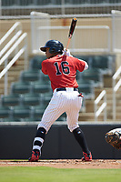 Luis Curbelo (16) of the Kannapolis Intimidators at bat against the Greensboro Grasshoppers at Kannapolis Intimidators Stadium on August 5, 2018 in Kannapolis, North Carolina. The Grasshoppers defeated the Intimidators 2-1 in game one of a double-header.  (Brian Westerholt/Four Seam Images)