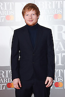 Ed Sheeran at the 2017 Brit Awards at the O2 Arena in London, UK. <br /> 22 February  2017<br /> Picture: Steve Vas/Featureflash/SilverHub 0208 004 5359 sales@silverhubmedia.com