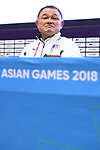 Yasuhiro Yamashita (JPN), <br /> AUGUST 18, 2018 : <br /> Press Conference of the Japanese delegation <br /> at Main Press Center <br /> during the 2018 Jakarta Palembang Asian Games <br /> in Jakarta, Indonesia. <br /> (Photo by Naoki Nishimura/AFLO SPORT)