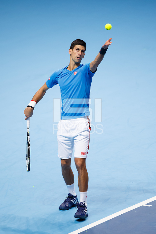 Novak Djokovic training during a media day at the Barclays ATP World Tour Finals at The O2 centre, North Greenwich, London.
