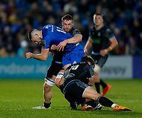 p28th February 2020; RDS Arena, Dublin, Leinster, Ireland; Guinness Pro 14 Rugby, Leinster versus Glasgow; Harry Byrne of Leinster is tackled by Pete Horne and Tom Gordon of Glasgow