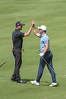 Webb Simpson (USA) congratulates Paul Casey (GBR) after he holed out his approach shot on 14 during round 2 of the World Golf Championships, Mexico, Club De Golf Chapultepec, Mexico City, Mexico. 2/22/2019.<br /> Picture: Golffile | Ken Murray<br /> <br /> <br /> All photo usage must carry mandatory copyright credit (&copy; Golffile | Ken Murray)