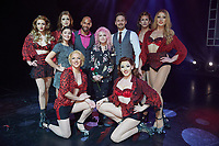"""The singer Cyndi Lauper (M) and the main characters Jeannine Wacker (2-L), Gino Emnes (3-L), Dominik Hees (3-R) as well as several other performers from Great Britain and the US perform together on stage of the Operettenhaus during a press showing of the musical """"Kinky Boots"""" in Hamburg, Germany, 28. September 2017. The Germany premiere will be on the 3rd of December. Photo: Georg Wendt/dpa /MediaPunch ***FOR USA ONLY***"""