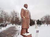 """Leninskulptur, Der Skulpturenpark """"Museon"""" im Zentrum von Moskau. Im Herbst 1991 wurde die Sowjetunion Geschichte, alte Helden gestürzt und hier, in der Nähe des damaligen Gorki Park, ins Gras geworfen."""