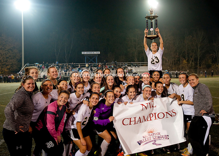 WATERBURY, CT--- -110515JS11--Woodland girls celebrate their NVL Championship following their 2-1 overtime win over Watertown in the NVL  Girls Soccer Tournament final Thursday at Municipal Stadium in Waterbury. <br /> Jim Shannon Republican-American