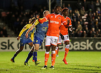 Blackpool's Joe Dodoo rues a missed chance<br /> <br /> Photographer Andrew Kearns/CameraSport<br /> <br /> The Emirates FA Cup Second Round - Solihull Moors v Blackpool - Friday 30th November 2018 - Damson Park - Solihull<br />  <br /> World Copyright © 2018 CameraSport. All rights reserved. 43 Linden Ave. Countesthorpe. Leicester. England. LE8 5PG - Tel: +44 (0) 116 277 4147 - admin@camerasport.com - www.camerasport.com
