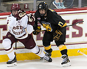 Scott Savage (BC - 2), Westin Michaud (CC - 17) - The Boston College Eagles defeated the visiting Colorado College Tigers 4-1 on Friday, October 21, 2016, at Kelley Rink in Conte Forum in Chestnut Hill, Massachusetts.The Boston College Eagles defeated the visiting Colorado College Tiger 4-1 on Friday, October 21, 2016, at Kelley Rink in Conte Forum in Chestnut Hill, Massachusett.