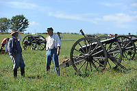 NWA Democrat-Gazette/ANDY SHUPE<br /> Soldiers participate Saturday, Sept. 26, 2015, in a re-enactment of the Civil War Battle of Pea Ridge in Pea Ridge. Visit nwadg.com/photos to see more from the weekend.