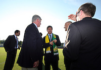 Harold Mayne-Nicholls, with George Mason scarf,during the visit of the FIFA World Cup 2018-2022 inspection delegation to George Mason University soccer practice facility.