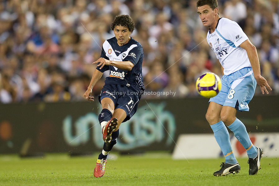 MELBOURNE, AUSTRALIA - MARCH 20, 2010: Marvin Angulo from Melbourne Victory kicsks the ball in the final of the 2010 A-League between the Melbourne Victory and Sydney FC at Etihad Stadium on March 20, 2010 in Melbourne, Australia. Photo Sydney Low www.syd-low.com