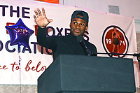 Kheron Gilpin of Miguel's ABC speaks after receiving the Pat Floyd Cup for best London amateur boxer during the London Ex-Boxers Association Awards Lunch at the Grand Connaught Rooms on 16th February 2020