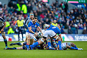 2nd February 2019, Murrayfield Stadium, Edinburgh, Scotland; Guinness Six Nations Rugby Championship, Scotland versus Italy; Tito Tebaldi of Italy clears the ball